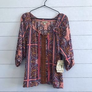One World Boho Pullover Top Paisley